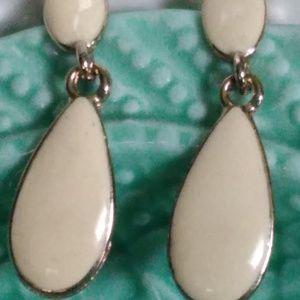 "Cream Colored Enamel Drop Post Earrings 1 3/4""Long"